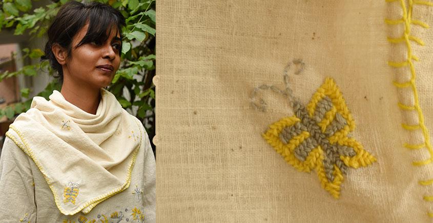 Aranya ♣ Kantha Embroidered . hand spun Handloom ♣ Cotton Scarf ♣ 18
