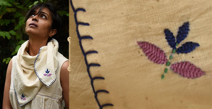 Aranya ♣ Kantha Embroidered . hand spun Handloom ♣ Cotton Scarf ♣ 20
