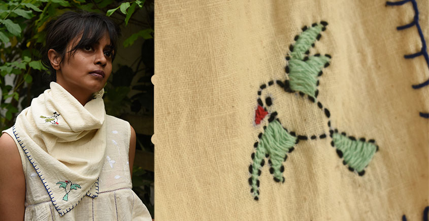 Aranya ♣ Kantha Embroidered . hand spun Handloom ♣ Cotton Scarf ♣ 21