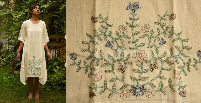 Aranya ♣ Kantha Embroidered . hand spun Handloom ♣ Cotton Dress ♣ 4