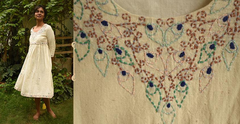 Aranya ♣ Kantha Embroidered . hand spun Handloom ♣ Cotton Dress ♣ 9