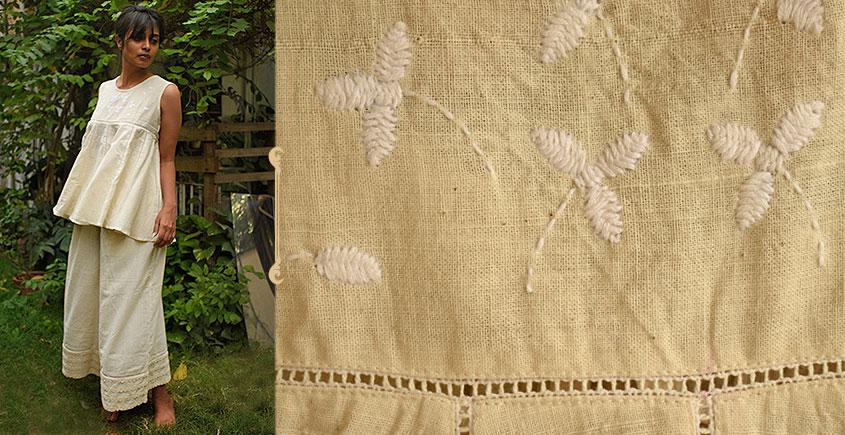Aranya ♣ Kantha Embroidered . hand spun Handloom ♣ Cotton Top & Palazzo ♣ 19