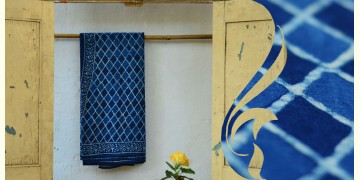 Syaama ~ Indigo Dabu printed . Cotton Saree ~ 1