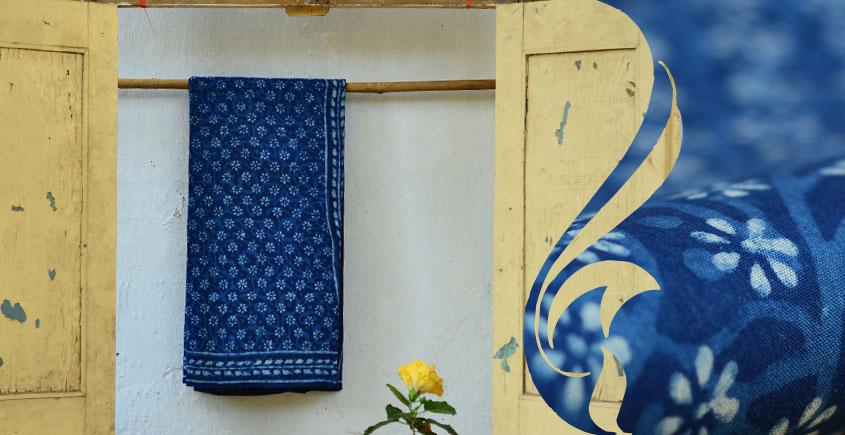 Syaama ~ Indigo Dabu printed . Cotton Saree ~ 10