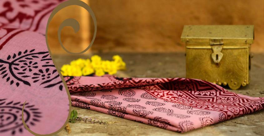 Manjri : Block printed Cotton Saree ~3