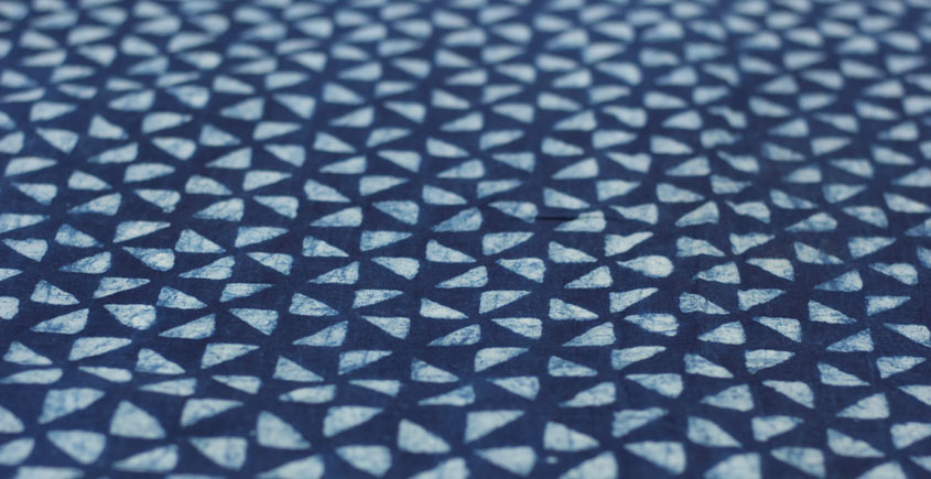 Indigo Dabu Print fabric ~ 10 (per meter)