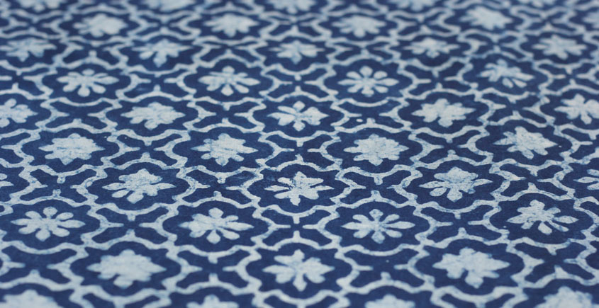 Indigo Dabu Print fabric ~ 11 (per meter)