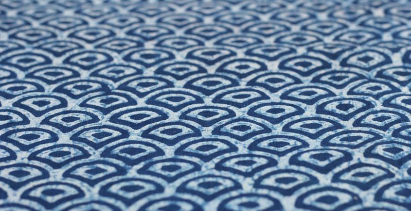 Indigo Dabu Print fabric ~ 13 (per meter)