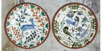 सजावट ❦ Hand Painted 'Turkish Forest' Wall Plates ❦ 22 { set of 2 }