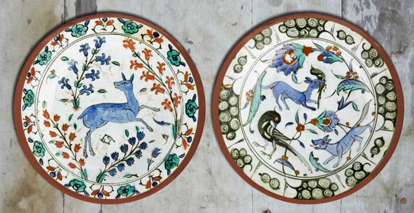 सजावट ❦ Hand Painted Turkish Forest Wall Plates ❦ 22 { set of 2 }