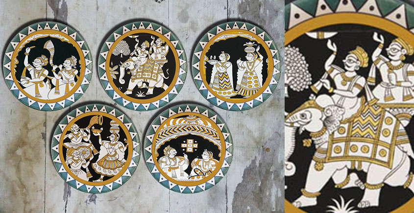 सजावट ❦ Hand painted Mela Wall Plates ❦ 24 { set of 5 }