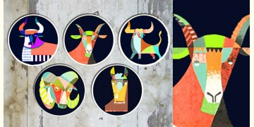 सजावट ❦ Hand Painted 'Nomad' Wall Plates ❦ 26 { set of 5 }
