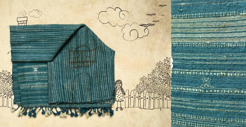 indigo yarn dye Handwoven Woolen Stole