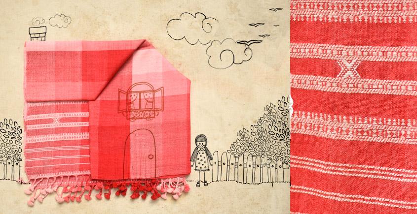 Red and pink checks Bhujodi Woolen Stole