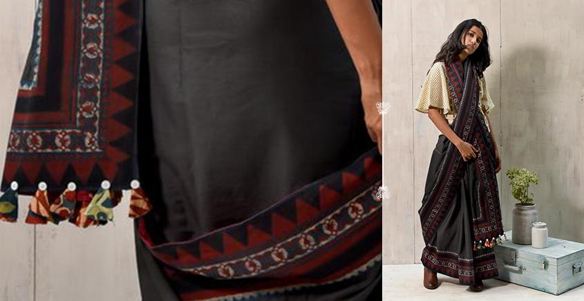 नीलाम्बरी ✤ Handblock Printed . Natural Dyed ✤ Cotton Saree ✤ 26