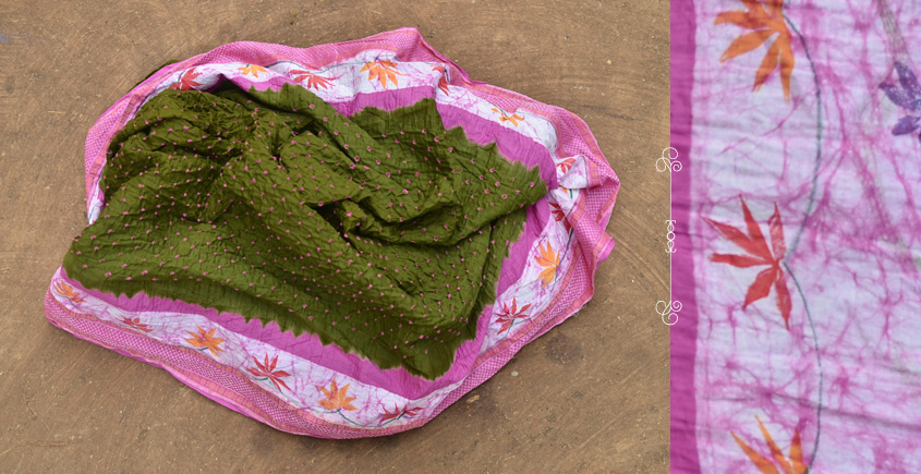 Valley of flowers - Bandhani . Batic Cotton Sarees ❀ 25