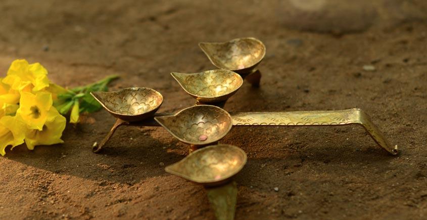 पीतल. Brass ~ Diya { for five }