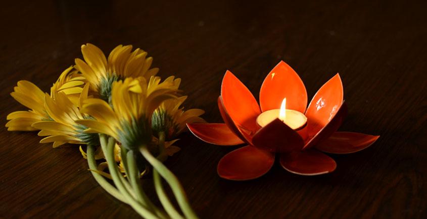 Courtyard ⚛ Lotus Orange Small Tea Light Holder ⚛ 46