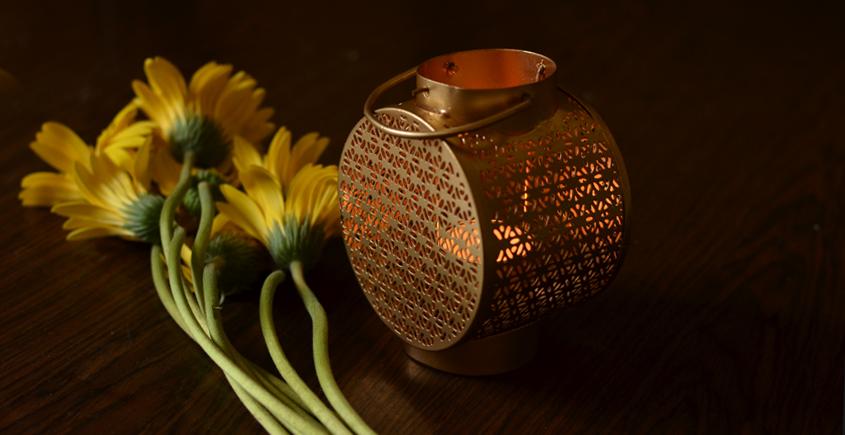 Courtyard ⚛ Satpura Lantern Small Gold Table Tea Light Holder ⚛ 50