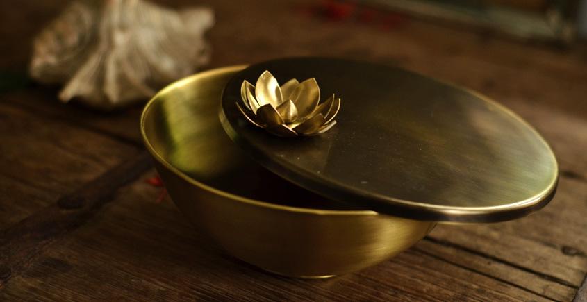 Courtyard ⚛ Ganga Antique Brass Nut Bowl ( Large ) ⚛ 24