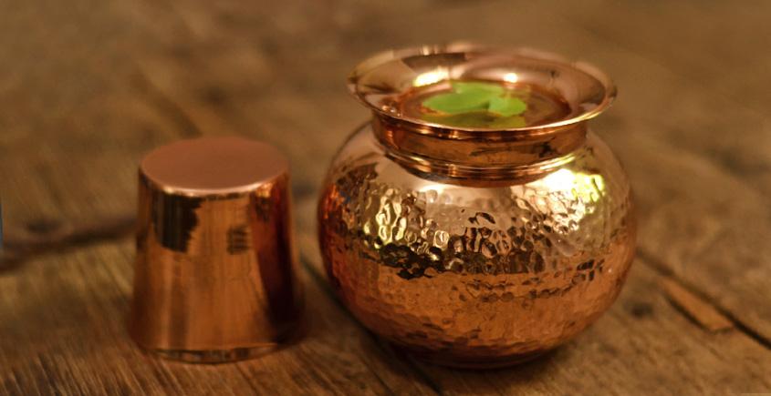 Courtyard ⚛ Jaipuri Pure Copper Kalash Panchamrit and Prasad Plate ⚛ 8