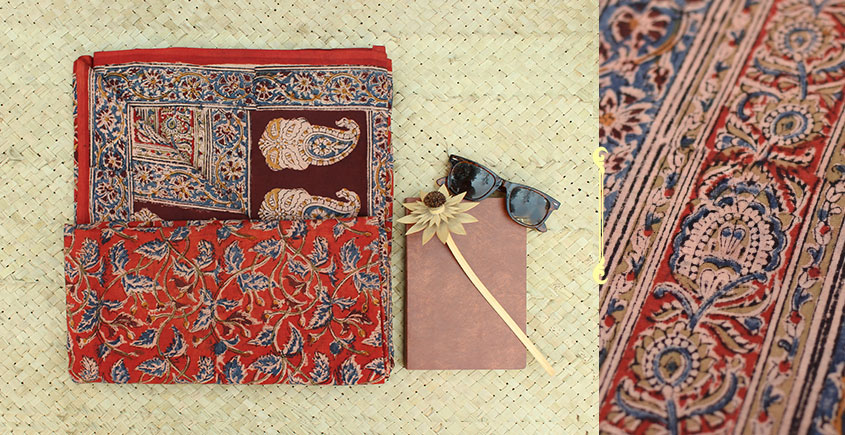 Saheli ☘ Natural Color . Block Printed . Kalamkari Saree ☘ 3