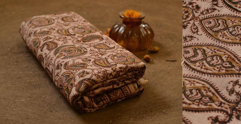 बेला ✤ Kalamkari Motif . Block Printed . Cotton Saree ✤ B