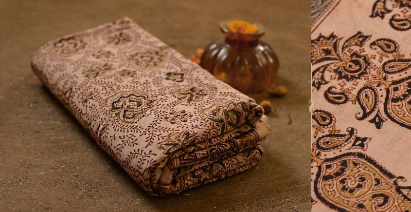 बेला ✤ Kalamkari Motif . Block Printed . Cotton Saree ✤ D