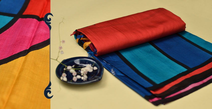 Malavika ☙ Hand printed Habutai silk saree ☙ 3