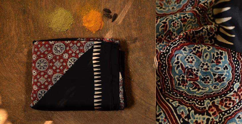 दस्तूर ❂ Gajji Silk . Ajrakh Saree { 10 }