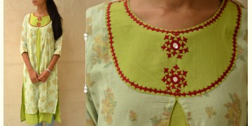 Block Print With Embroidery Kurta ♠ 4