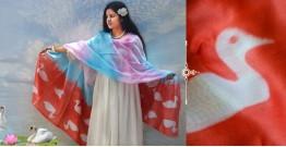 रंग महल ☙ Clamp dyed chanderi silk dupatta { हंसिनी } ☙ 2