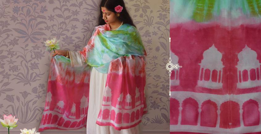 रंग महल ☙ Clamp dyed chanderi silk dupatta { गुलाबी नगरी } ☙ 4