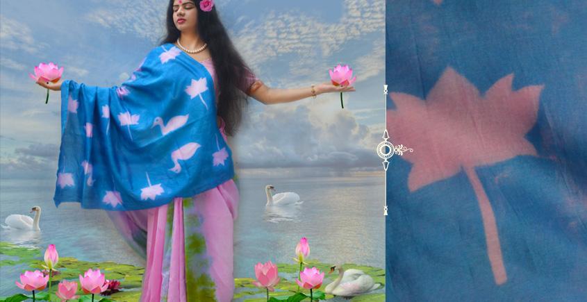 रंग महल ☙ Clamp dyed chanderi silk saree { झील } ☙ 9