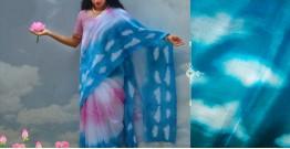 रंग महल ☙ Clamp dyed chanderi silk saree { अनंत आसमान } ☙ 10