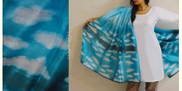 मलंग ☙ Chanderi Silk Clamp dyed Dupatta { आसमान } ☙