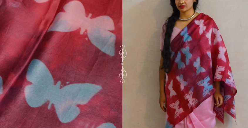 मलंग ☙ Chanderi Silk Clamp dyed Saree { तितली } ☙