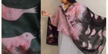 मलंग ☙ Chanderi Silk Clamp dyed Dupatta { चिड़िया } ☙