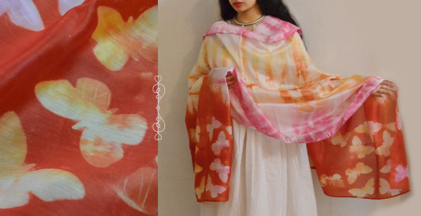 मलंग ☙ Chanderi Silk Clamp dyed Dupatta { तितली } ☙