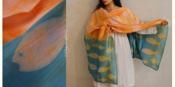 मलंग ☙ Chanderi Silk Clamp dyed Dupatta { मछली } ☙