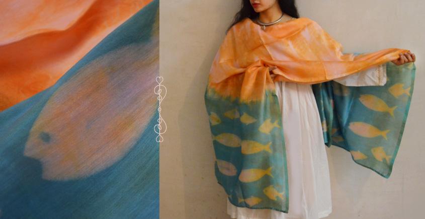 मलंग ☙ Chanderi Silk Clamp dyed Dupatta { मछली } ☙
