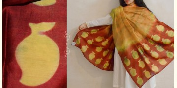 मलंग ☙ Chanderi Silk Clamp dyed Dupatta { आम } ☙