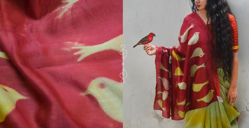 मलंग ☙ Chanderi Silk Clamp dyed Saree { चिडिया } ☙