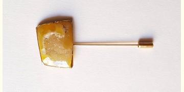Gilded Pebbles ✶ Stone Jewelry ✶ Yellow Stone Lapel Pin { 16 }
