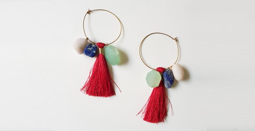 Tinted Oceans ✺ Stone Jewelry ✺ Red Love Loop Earrings { 1 }