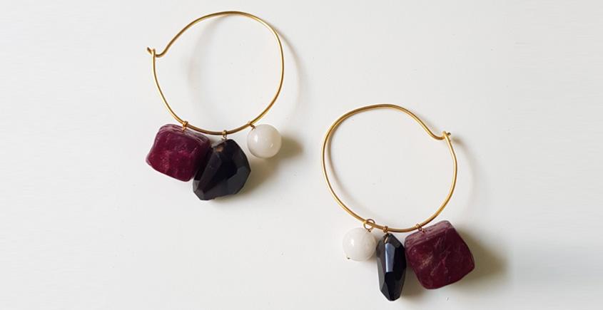Tinted Oceans ✺ Stone Jewelry ✺ Maroon Loop earrings { 5 }