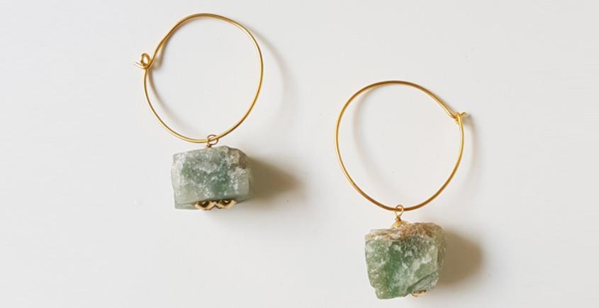Tinted Oceans ✺ Stone Jewelry ✺ Jade cube loop earrings { 6 }