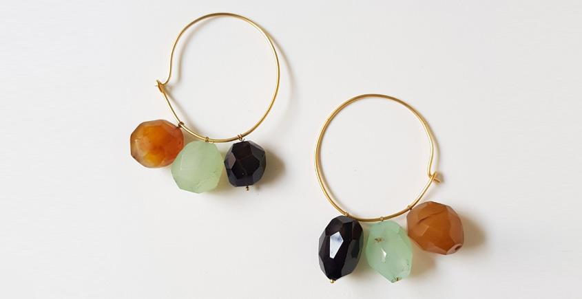 Tinted Oceans ✺ Stone Jewelry ✺ Jade cube loop earrings { 7 }