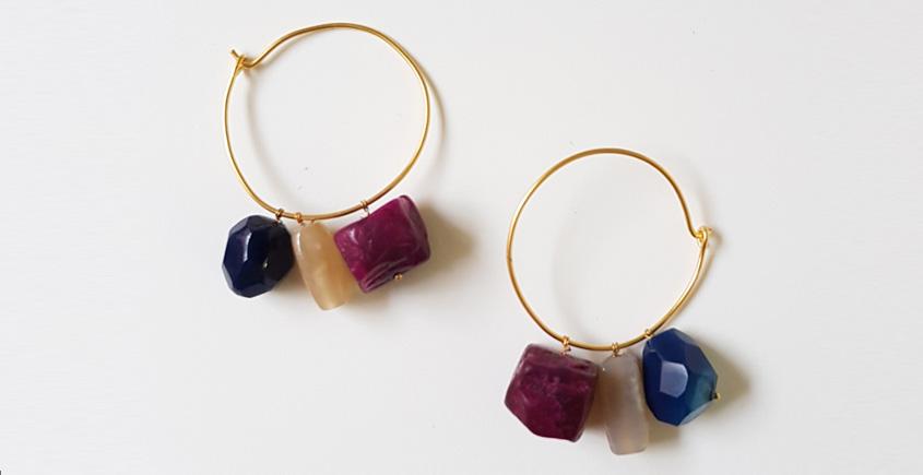 Tinted Oceans ✺ Stone Jewelry ✺ Bright loop earrings { 11 }