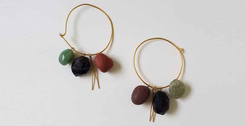 Tinted Oceans ✺ Stone Jewelry ✺ Shades of black loop earrings { 15 }